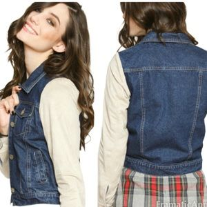 Rails Jean Jacket Suede Sleeves Plaid Lined M NWT
